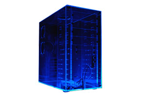 "Корпус ATX MiniTower Sharkoon SH-AS-UV-pa (прозрачн. акрил. светоотражающ. УФ, без блока пит., 240*505*290мм, 4х5.25"", 7х3.5"")"