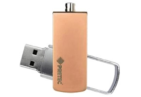 Накопитель Flash USB2.0 Drive 16GB Pretec i-Disk Swing Champagne (Read 20MB/s, Write 4MB/s)