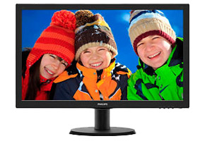 "Монитор 23.6"" Philips 243V5LSB/00(01) черный (1920x1080 TN LED, 250 cd/m2, 1000:1 (DC 10M:1), 170°/160°, 5 ms, D-Sub, DVI)"