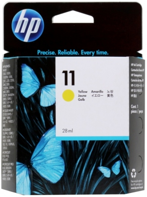 Картридж струйный HP №11 C4838A желтый (yellow) для HP DesignJet 20/100/110/111/120, Business InkJet 1000/1100/1200/2300/2800, OfficeJet K850/9120 (28 мл)