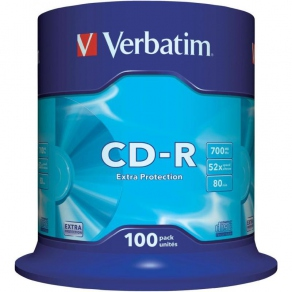 Диск CD-R 700 Мб/ 80мин Verbatim 52x, DL, Extra Protection Surface, Cake Box 100 шт. 43411