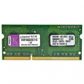 Модуль памяти SODIMM DDR3 1GB PC8500 1066MHz Kingston CL7 KVR1066D3S7/1G
