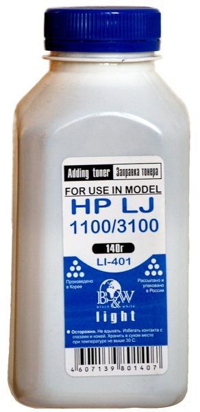 Тонер для HP LJ 1100/1150/3100/5L/6L (140г/фл) для C4092A/Q2624A/C3906A/EP-22 B&W Light LI-401