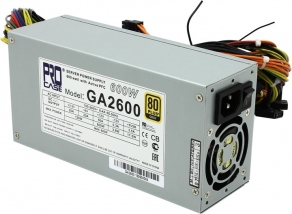 Блок питания 2U 600W Procase GA2600 (80+Gold, 20/24+4/8+4/8pin, 9HDD, 6SATA, Fan 60mm)